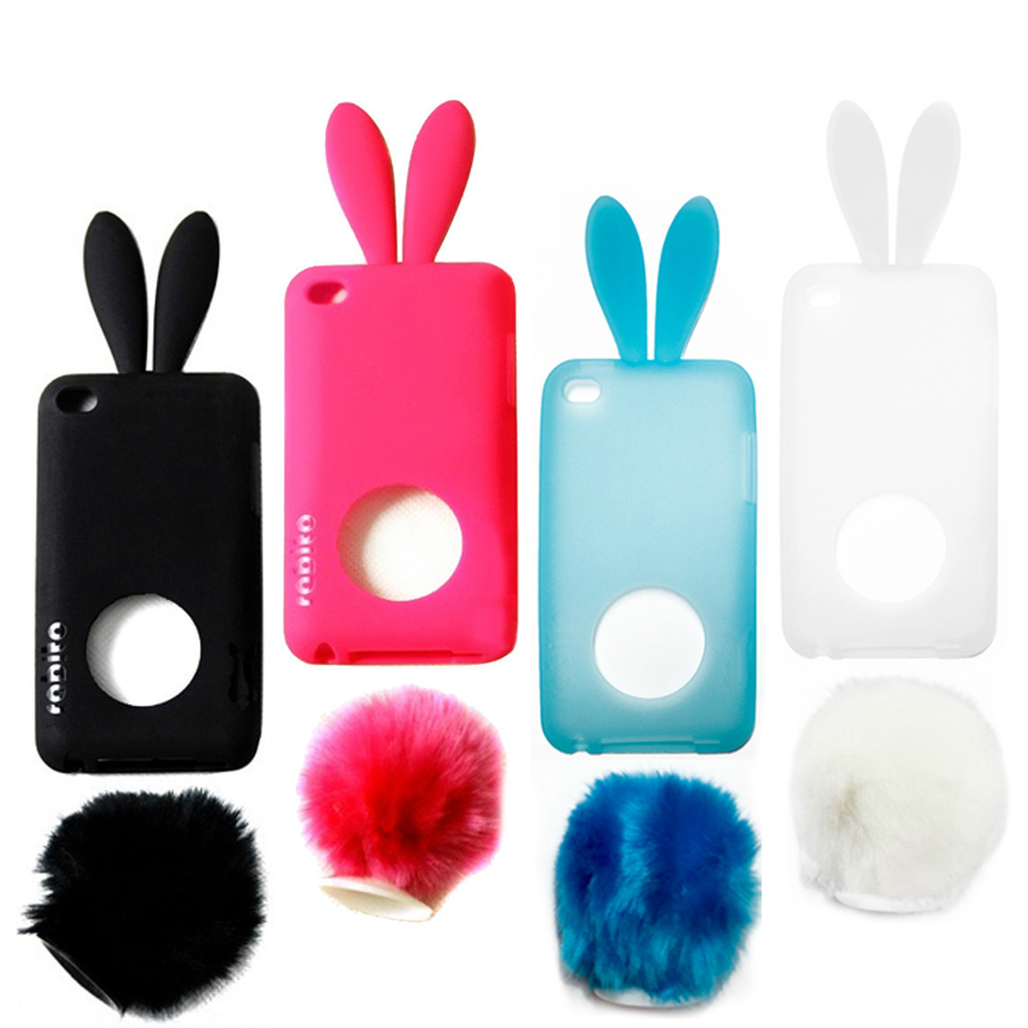 cute bunny rabbit skin case cover for apple ipod touch 4. Black Bedroom Furniture Sets. Home Design Ideas
